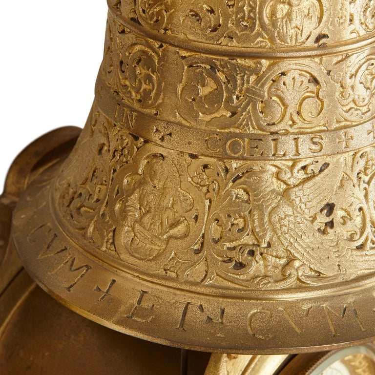 Large French 19th Century Gilt Bronze Wall Clock with Religious Inscriptions  For Sale 3