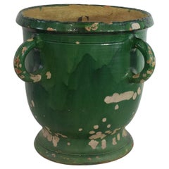 Large French 19th Century Green Glazed Earthenware Castelnaudary Planter