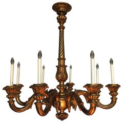 Large French 19th Century Louis XVI Style Carved and Giltwood Chandelier