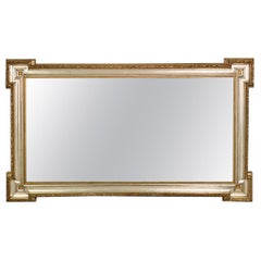 Large French 19th Century Silver and Gilt Mirror with Original Mirror Glass