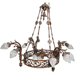 Large French  antique  Bronze Chandelier