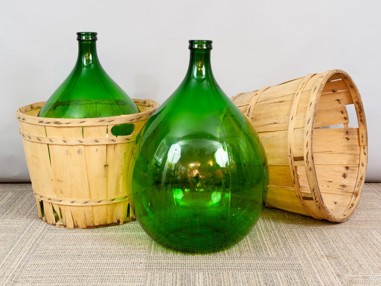Large French Antique Emerald Green Demi-John in a Wooden Basket For Sale 5