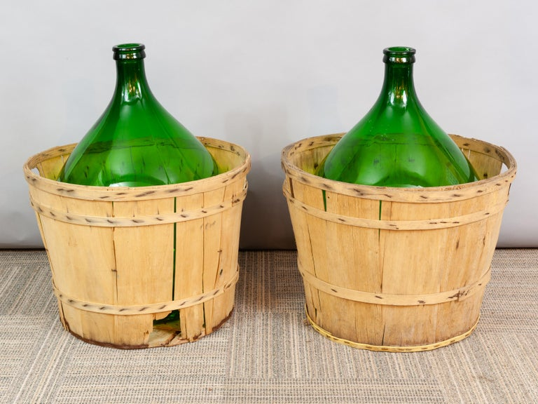 19th Century Large French Antique Emerald Green Demi-John in a Wooden Basket For Sale