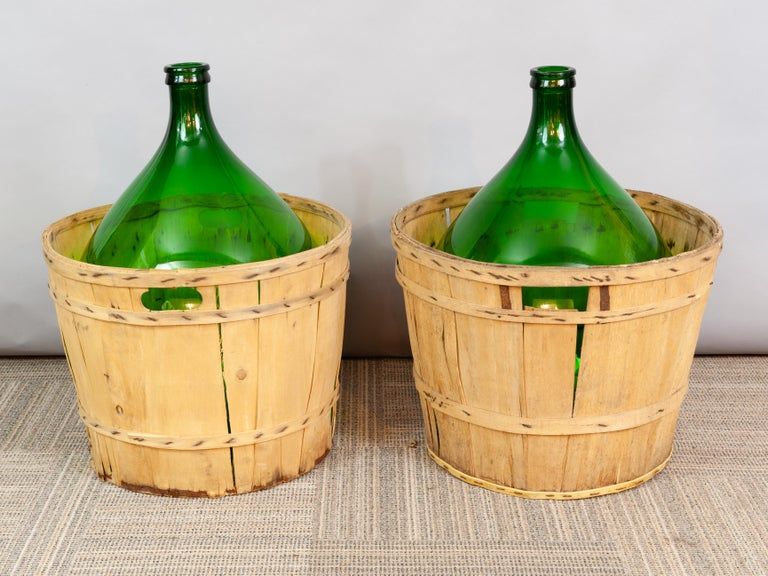 Large French Antique Emerald Green Demi-John in a Wooden Basket For Sale 1