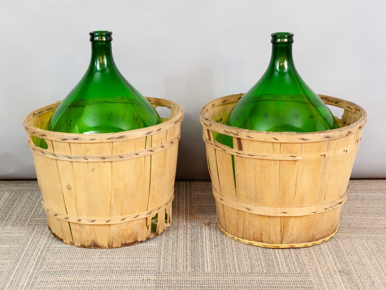Large French Antique Emerald Green Demi-John in a Wooden Basket For Sale 2