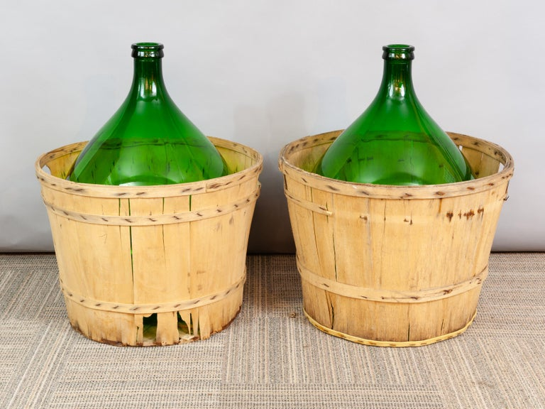 Large French Antique Emerald Green Demi-John in a Wooden Basket For Sale 3