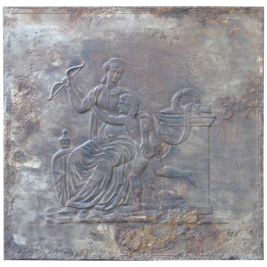 Large French Antique Fireback with Goddess Diana, 19th Century
