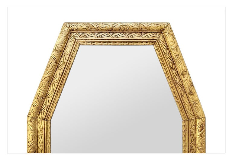 Art Deco Large French Antique Octagonal Mirror, circa 1930 For Sale