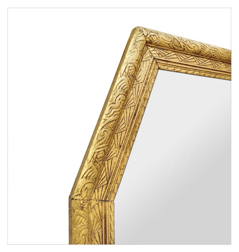 Gilt Large French Antique Octagonal Mirror, circa 1930 For Sale