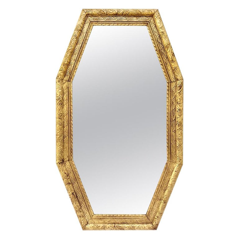 Large French Antique Octagonal Mirror, circa 1930 For Sale