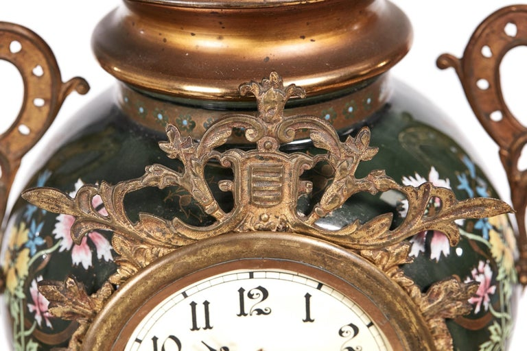 Brass Large French Antique Victorian Mantel Clock