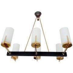 Large French MidCentury Arlus Brass Glass Chandelier Pendant Light, 1960s