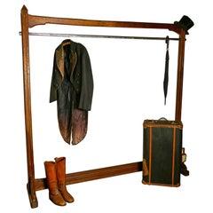 Large French Art & Crafts Golden Oak Clothes Rail