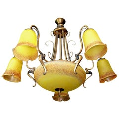 Large French Art Deco and Art Nouveau Amber Art Glass and Brass Chandelier