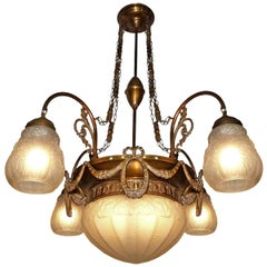 Large French Art Deco and Art Nouveau Brass and Frosted Glass 5-Light Chandelier