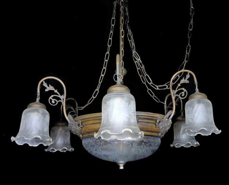 Large French Art Deco and Art Nouveau Etched Art Glass 8-Light Chandelier 1930s In Good Condition For Sale In Coimbra, PT