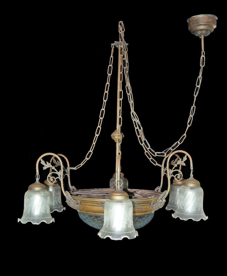 20th Century Large French Art Deco and Art Nouveau Etched Art Glass 8-Light Chandelier 1930s For Sale