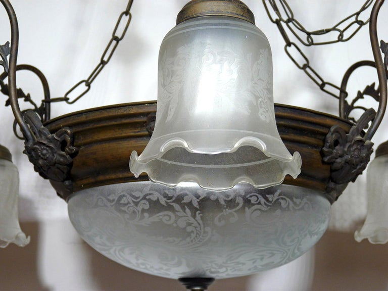Metal Large French Art Deco and Art Nouveau Etched Art Glass 8-Light Chandelier 1930s For Sale
