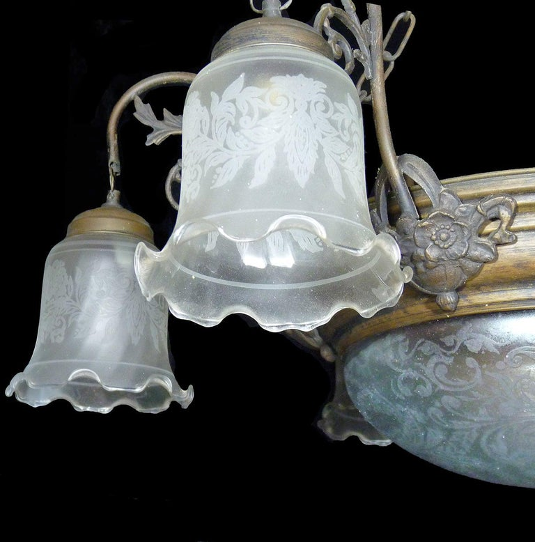 Large French Art Deco and Art Nouveau Etched Art Glass 8-Light Chandelier 1930s For Sale 1