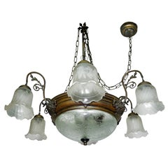 Large French Art Deco and Art Nouveau Etched Art Glass 8-Light Chandelier 1930s