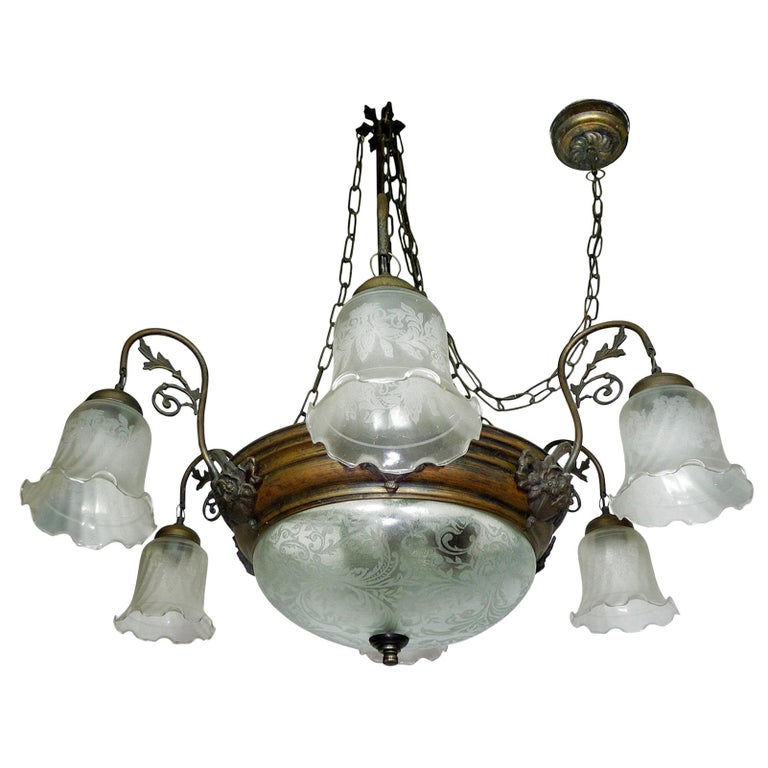 Large French Art Deco and Art Nouveau Etched Art Glass 8-Light Chandelier 1930s For Sale