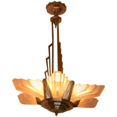 Large French Art Deco Atelier Petitot Chandelier, Stunning