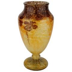 Large French Art Deco Charles Schneider Yellow Glass Jade Vase