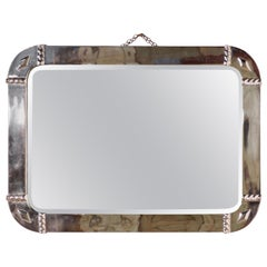 Large French Art Deco Chrome Wall Mirror