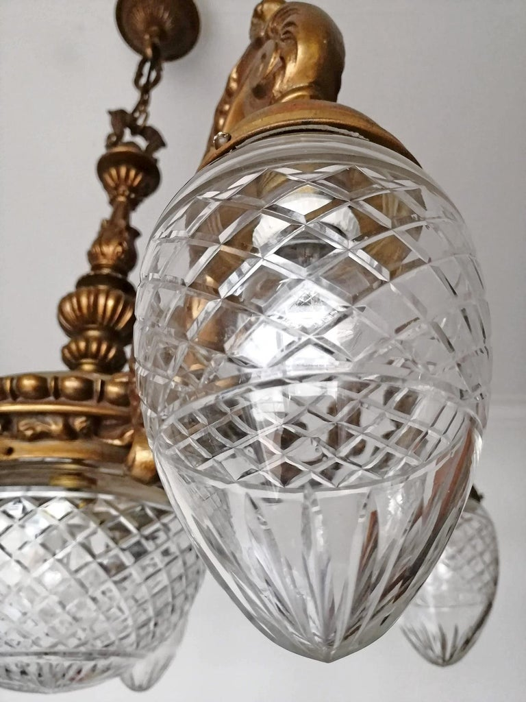 Large French Art Deco Cut Crystal Globes & Gilt Bronze Ornate Chandelier, 1920s For Sale 2