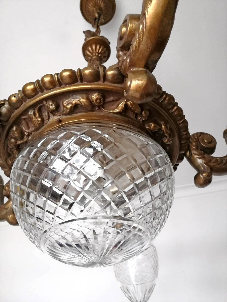 Large French Art Deco Cut Crystal Globes & Gilt Bronze Ornate Chandelier, 1920s For Sale 3