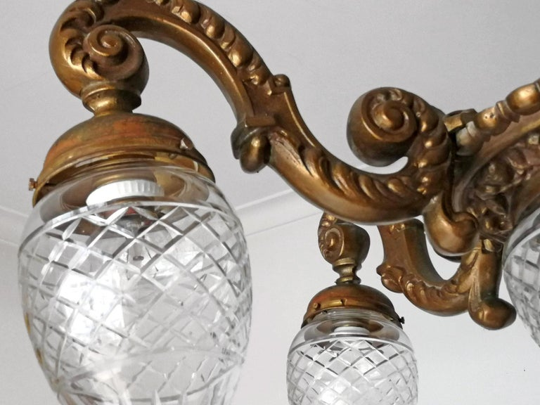 Large French Art Deco Cut Crystal Globes & Gilt Bronze Ornate Chandelier, 1920s For Sale 4