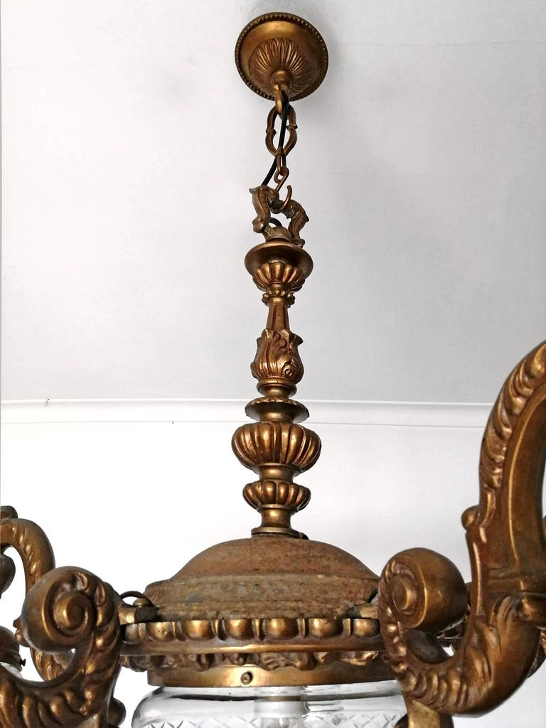 Large French Art Deco Cut Crystal Globes & Gilt Bronze Ornate Chandelier, 1920s For Sale 5