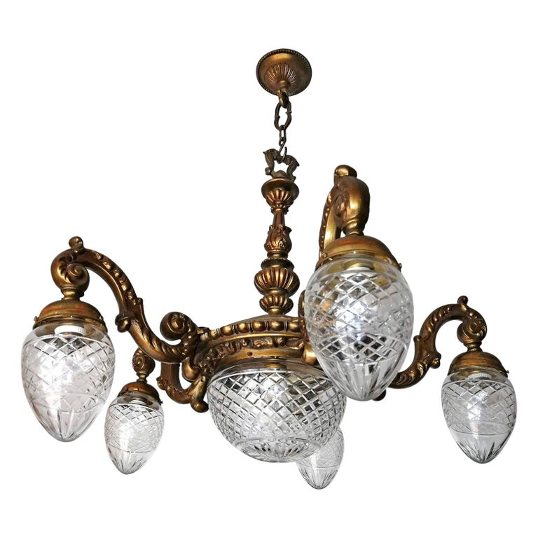Large French Art Deco Cut Crystal Globes & Gilt Bronze Ornate Chandelier, 1920s For Sale