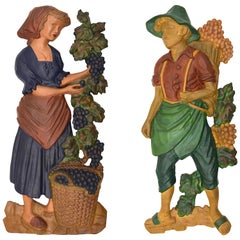 Large French Art Deco Grape Picker Couple, 1920s