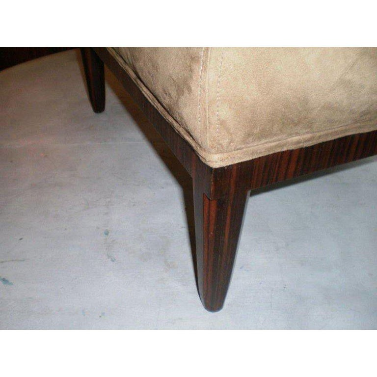 Large French Art Deco Jules Leleu Inspired Square Ottoman In Good Condition For Sale In Houston, TX
