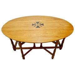 Large French Art Deco Lemon Wood Gate Leg Wake Table