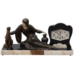 Large French Art Deco Marble Mantel Clock