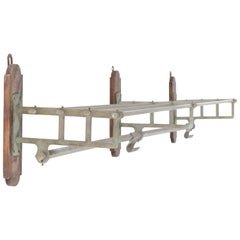 Large French Art Deco Nickel-Plated Brass Coat Rack, 1930s