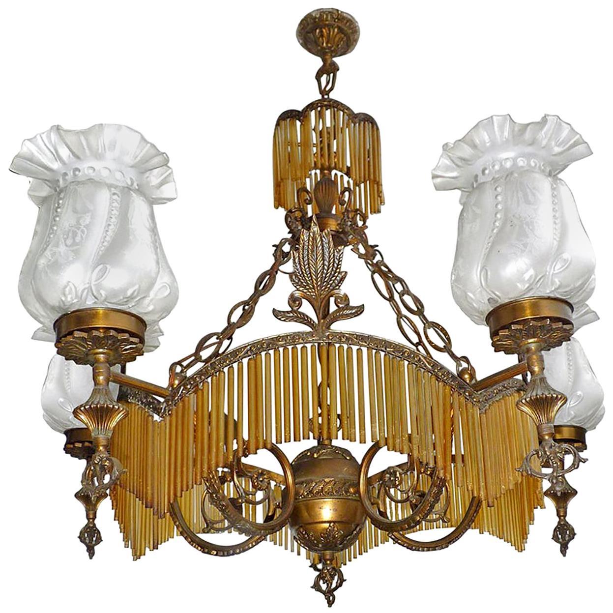 Large French Art Deco or Nouveau Amber Glass Fringe Hollywood Regency Chandelier