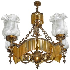 Large French Art Deco or Nouveau Amber Glass Fringe Hollywood Regency Chandelier
