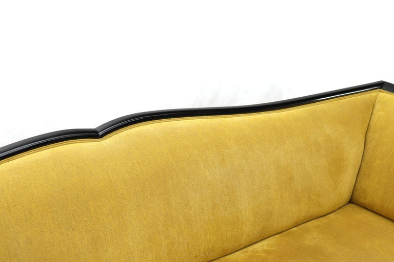 Large French Art Deco Rosewood Sofa in Gold Upholstery Scalloped Edge For Sale 5