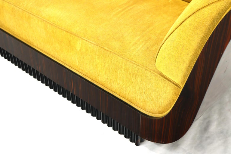 Large French Art Deco Rosewood Sofa in Gold Upholstery Scalloped Edge For Sale 6