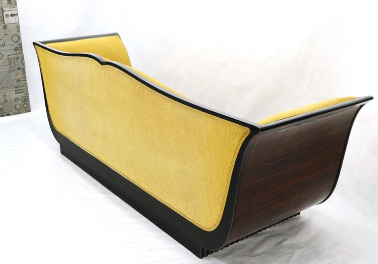Large French Art Deco Rosewood Sofa in Gold Upholstery Scalloped Edge For Sale 7