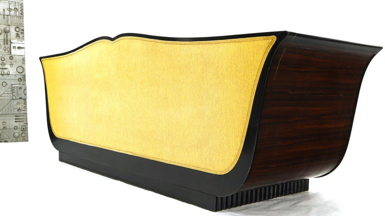 Lacquered Large French Art Deco Rosewood Sofa in Gold Upholstery Scalloped Edge For Sale