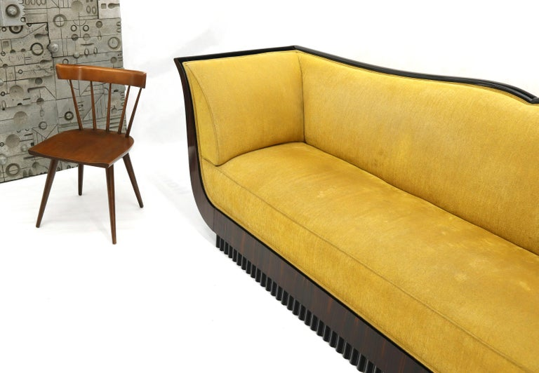 Large French Art Deco Rosewood Sofa in Gold Upholstery Scalloped Edge In Good Condition For Sale In Blairstown, NJ