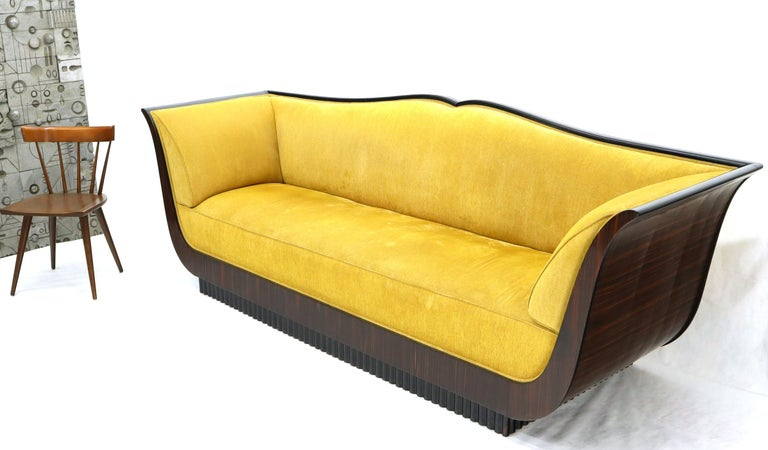 20th Century Large French Art Deco Rosewood Sofa in Gold Upholstery Scalloped Edge For Sale