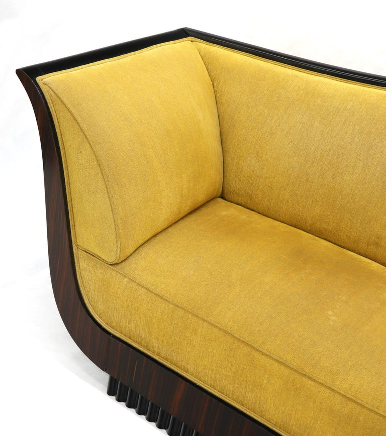 Large French Art Deco Rosewood Sofa in Gold Upholstery Scalloped Edge For Sale 1