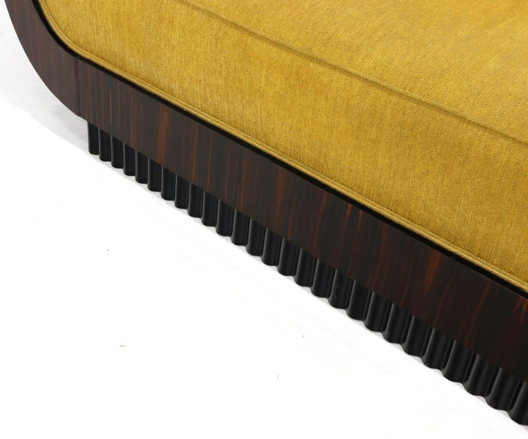 Large French Art Deco Rosewood Sofa in Gold Upholstery Scalloped Edge For Sale 2
