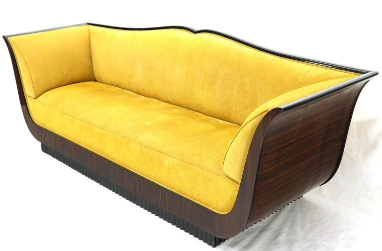 Large French Art Deco Rosewood Sofa in Gold Upholstery Scalloped Edge For Sale 3