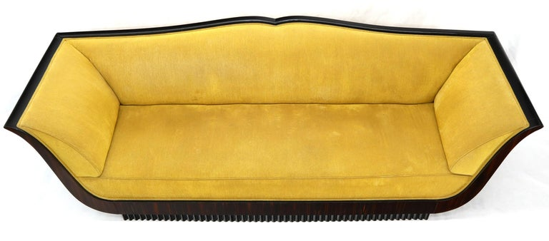 Large French Art Deco Rosewood Sofa in Gold Upholstery Scalloped Edge For Sale 4